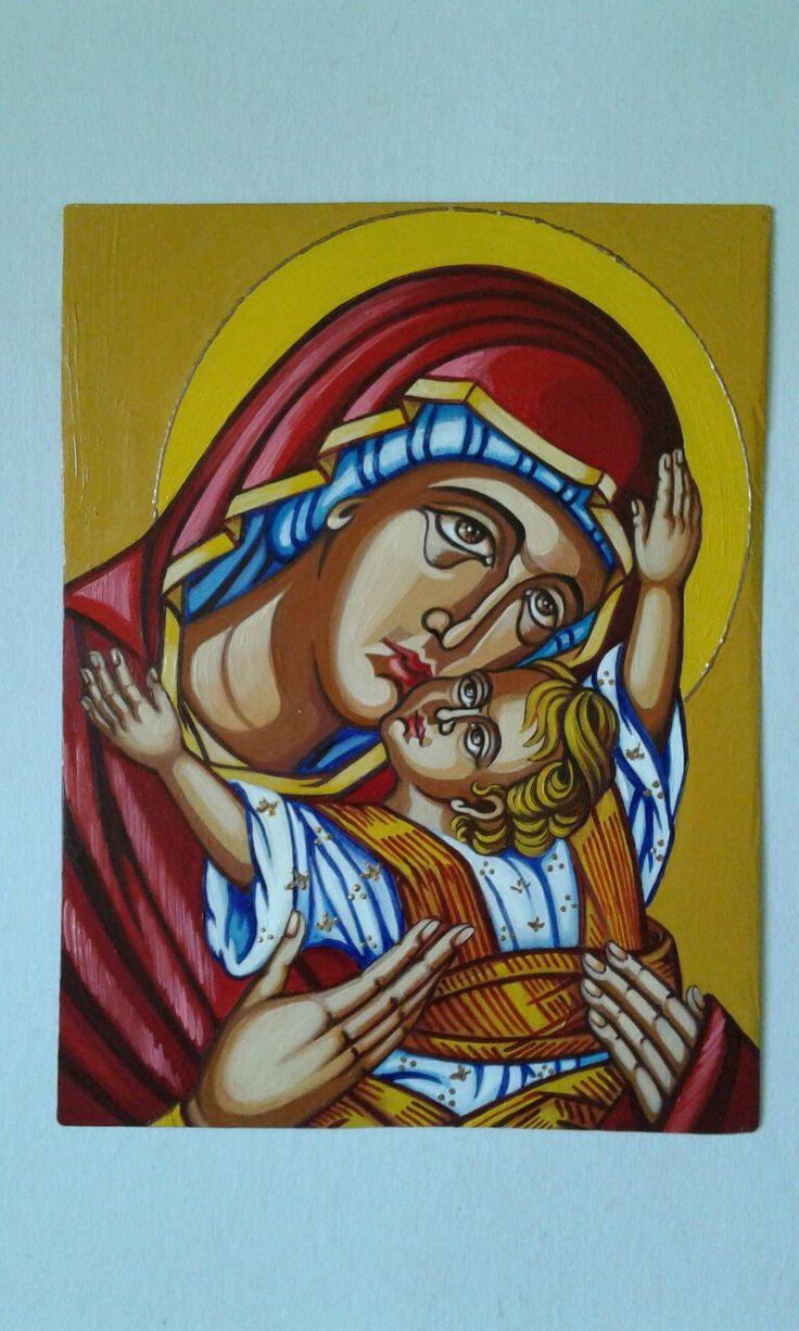 Maica Domnului mângâietoarea pictura în ulei - Corina Stanciu
