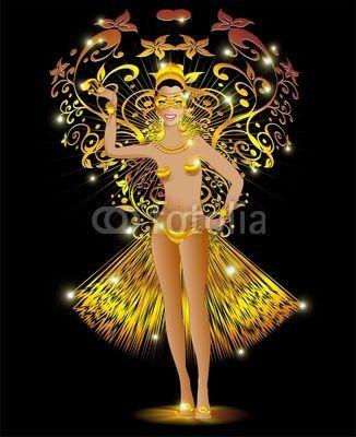 #Exotic #Golden #Carnival #Girl-#Vector © bluedarkat