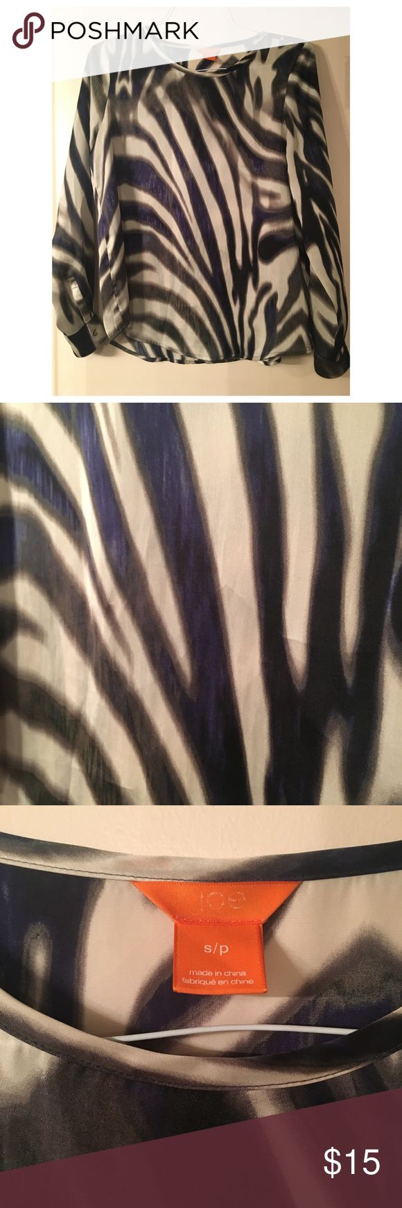 Joe Fresh Zebra Print Pattern Blouse Joe Fresh zebra print blouse - black and white with blue and purple hints throughout. Very lightweight and in great condition. Joe Fresh Tops Blouses