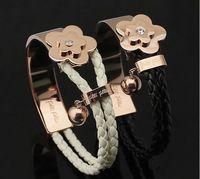 Griego cristalino mujeres flor pulseras 18 k chapado en oro rosa de titanio de acero inoxidable pulsera de cuero brazalete de joyería regalos