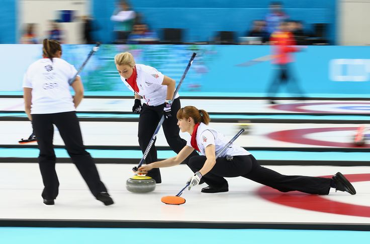 Claire Hamilton of Great Britain in action during the round robin match against Sweden at the 2014 Sochi Olympics