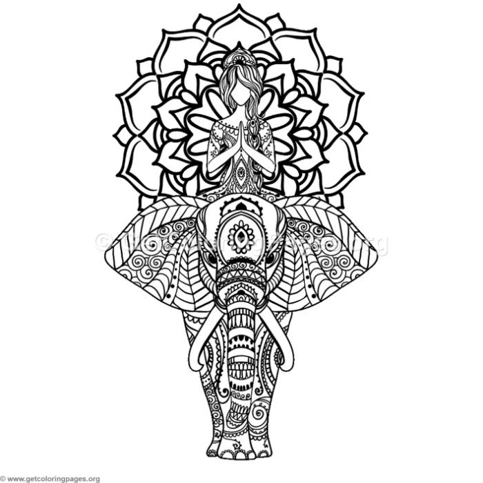 Download for Free Yoga and Elephant Mandala Coloring Pages