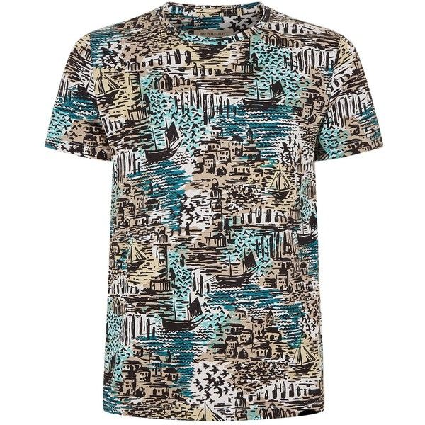 Burberry Coastal Print T-Shirt (290 CAD) ❤ liked on Polyvore featuring men's fashion, men's clothing, men's shirts, men's t-shirts, mens cotton shirts, burberry mens t shirt, mens cotton t shirts, mens patterned shirts and mens print shirts
