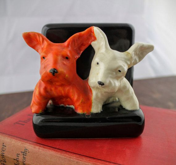 Vintage Dog Bookend  Ceramic Orange and White by LoAndCoVintage