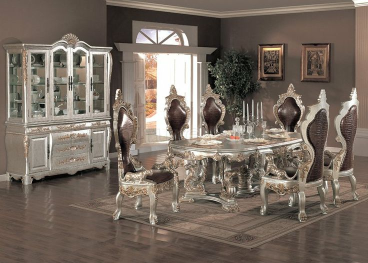 Traditional Formal Dining Room Furniture | Metallic Finish Traditional 7Pc Formal  Dining Set W/Options