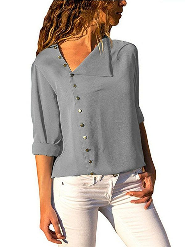 7dbae7827372ee ... Casual Ladies Work Top Plus Size. Button Irregular Diagonal Collar Long  Sleeve Blouses - Onlyyo.com