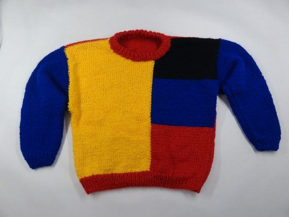 Classic 1980's children's jersey style. Bright colours meant Mum could find us on a winter's day when we'd gone AWOL at the playground!