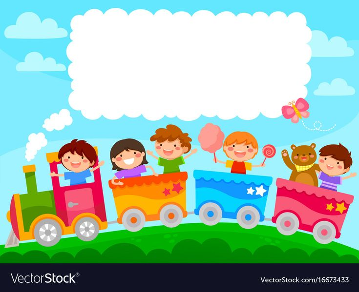 Kids in a colorful train with space for text. Download a Free Preview or High Qu…