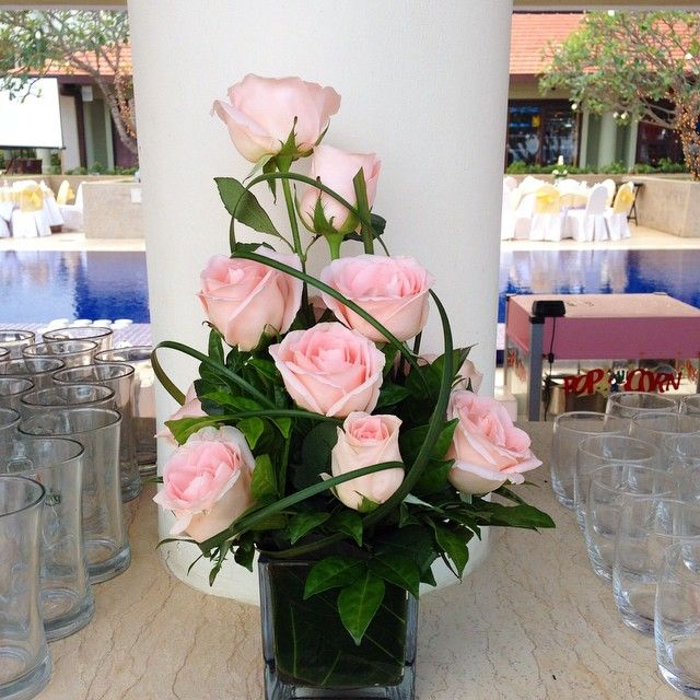 Pretty flowers by Eeva at a poolside wedding. {Hyatt Regency Kuantan}