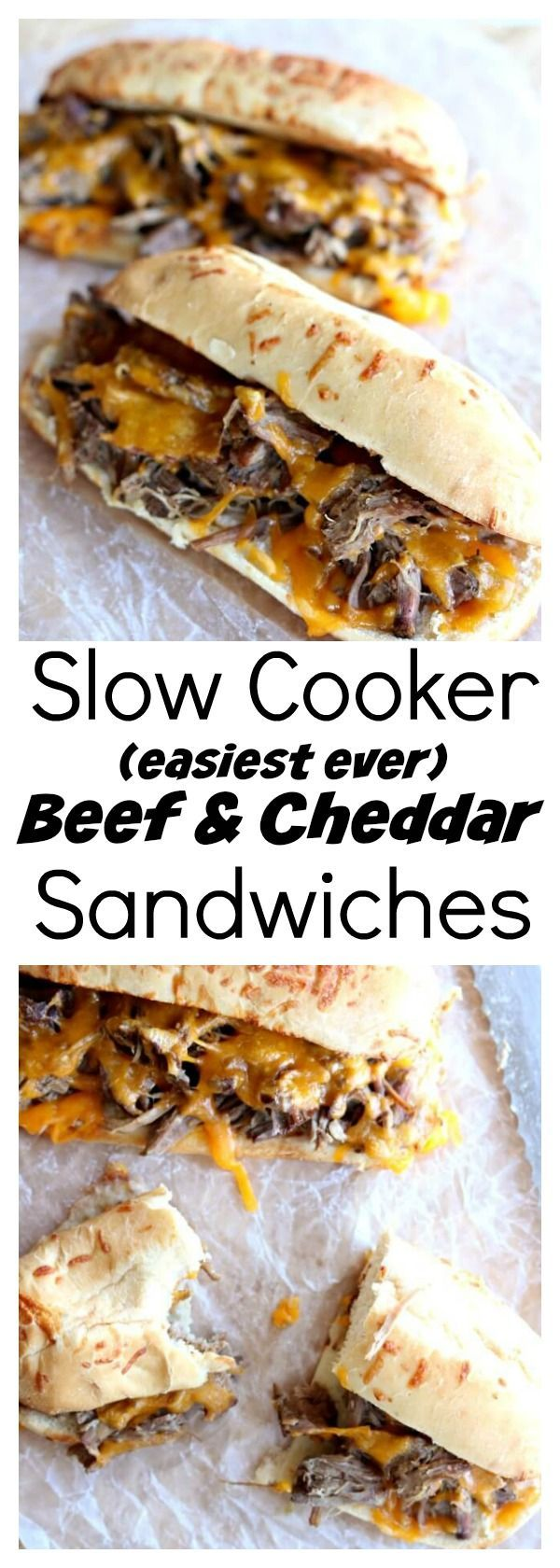 Slow Cooker Beef and Cheddar Sandwiches–the easiest recipe to make ever. With only 4 ingredients total (beef, onion soup mix, cheddar and sandwich buns) you may be thinking that this recipe is just too easy to taste good. Well, you're wrong 🙂 The flavor is amazing and your family will be asking for seconds.