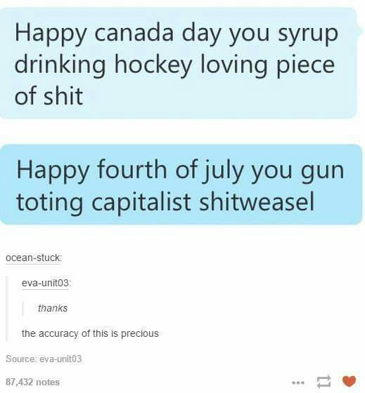 Canadian Independence Day and American Independence Day