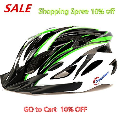 BMX Helmets - Crazy Mars  Ultralight Stable RoadMountain MensWomens Bike Helmet GreenBlackWhite * You can get additional details at the image link.