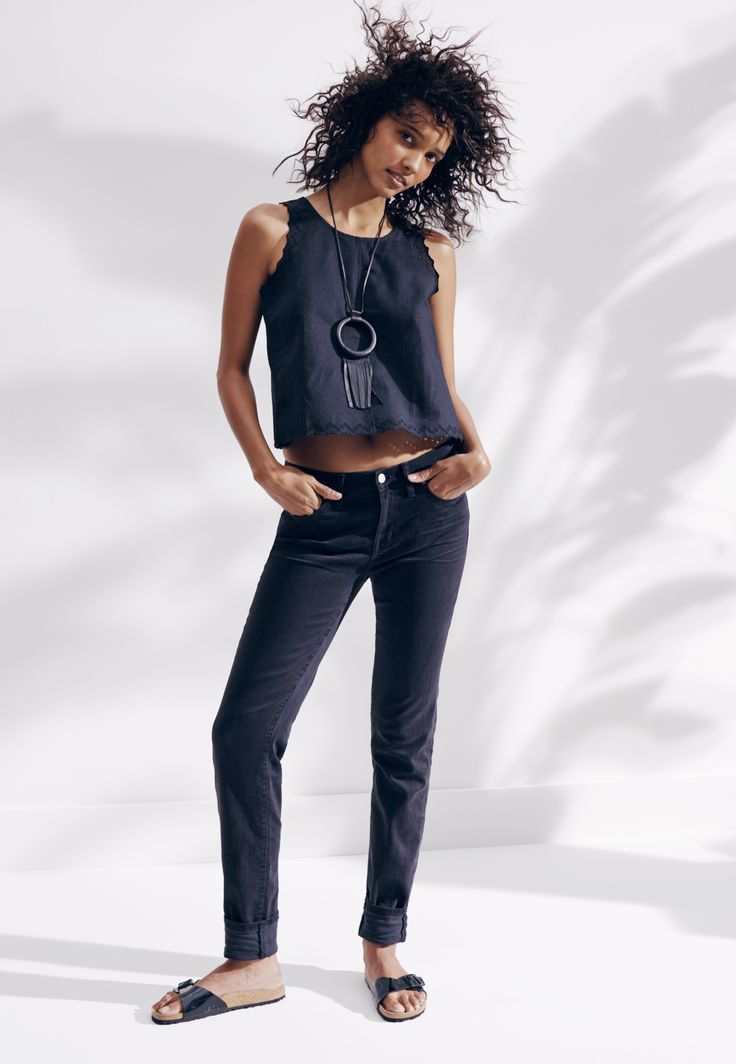 madewell eyelet crop top worn with the alley straight jeans, crescioni® ritual necklace + birkenstock® madrid sandals.