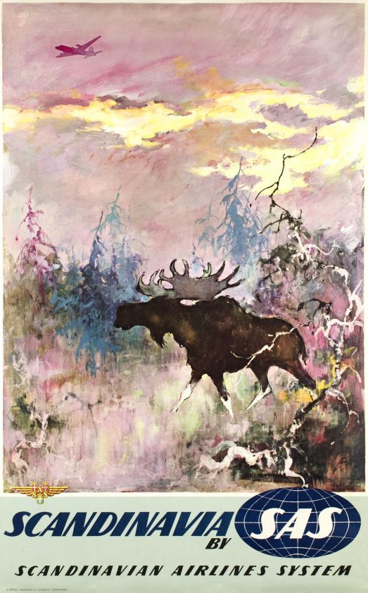 1950s Scandinavia by SAS vintage travel poster /elk