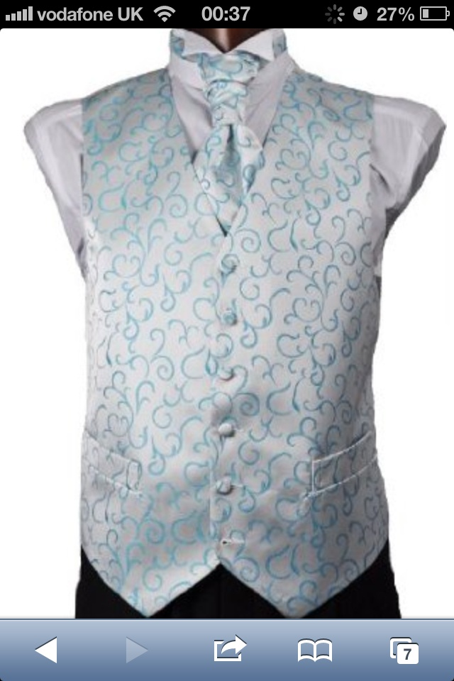 Husbands waistcoat.. His cravat will be block Tiffany and the groomsmen in cravat matching this waistcoat! 11 days to go <3