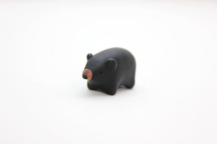 black bear figurine polymer clay