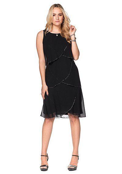 sheego Style Kleid mit Volants - schwarz | sheego XXL-Mode