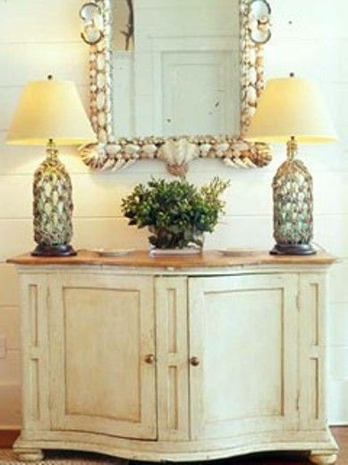 shells glued to mirror frame -- ciao! newport beach: decorating with sea shells