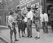 """Chicago's most famous race riot of this type occurred between July 27 and August 3, 1919. The violence was precipitated by the drowning of an African American teenager who had crossed an invisible line at 29th Street separating customarily segregated """"white"""" and """"black"""" beaches. Soon, white and black Chicagoans, especially in the South Side residential areas surrounding the stockyards, engaged in a seven-day orgy of shootings, arsons, and beatings that resulted in the deaths of 15..."""