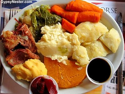 Jiggs Dinner in Newfoundland -See more: http://www.gypsynester.com/gros-morne.htm #travel #Newfoundland #Canada #food #foodie