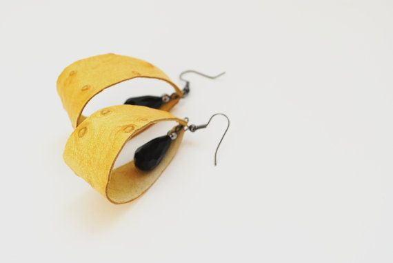 Yellow ostrich leather earrings black crystals by elfinadesign