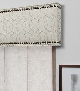 Custom cornice with nailhead detail - contemporary over vertical blinds I The Shade Store