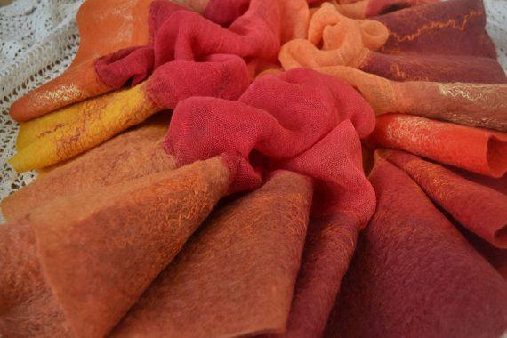 Felted scarf nuno felted scarf wool scarf autumn scarf by Gariana