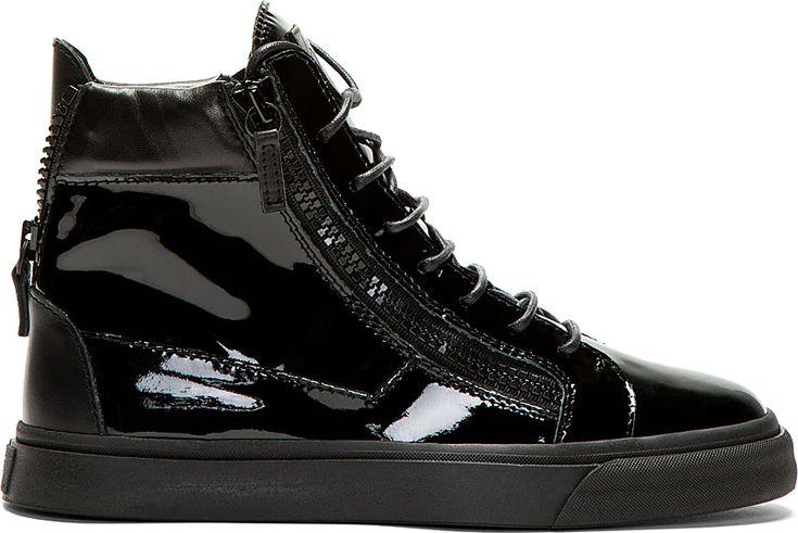 Giuseppe Zanotti - Black Patent Leather High-Top Sneakers