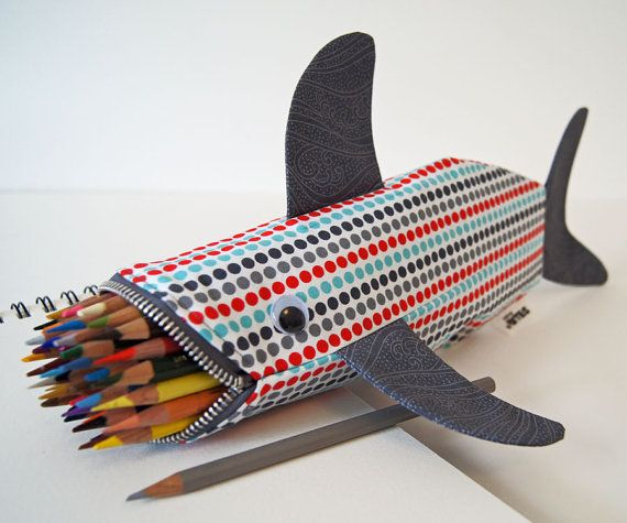 Shark Pencil CaseGift Ideas, Sharks Bags, Zipper Pouch, Bags Pencil, Pencil Cases, Zippers Pouch, Sharks Pencil, Crafts, Pencil Holders