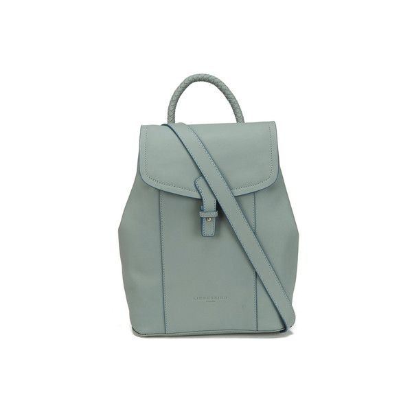 Liebeskind Women's Alissa Backpack - New Night Blue ($130) ❤ liked on Polyvore featuring bags, backpacks, green backpack, flat backpack, leather rucksack, liebeskind and leather flap backpack