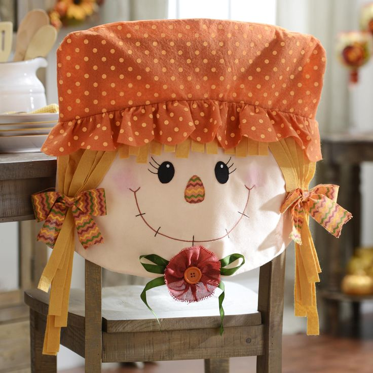 A set of Scarecrow Girl Chair Covers is a fun addition to your dining room table for the fall! Make sure the table is festive for your family meals, especially Thanksgiving dinner, with these adorable covers.