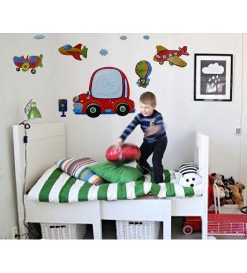 Araba Uçak Trafik Işığı Çocuk Odası Duvar Sticker