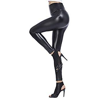 16a5fe3913906 Brovollous Womens Faux Leather High Waisted Leggings, Sexy Stretchy Skinny Leather  Tights Pants Black M