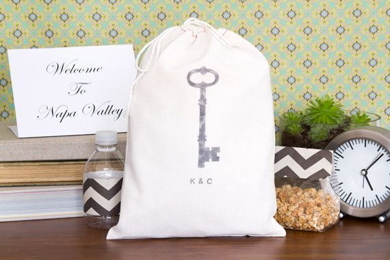 Wedding Welcome Bag - Wedding Welcome Bags - Set of 10 - Skeleton Key Favor Bags on Etsy, $20.00