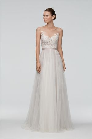 Illusion Sheath Wedding Dress  with Natural Waist in Chiffon. Bridal Gown Style Number:33324526