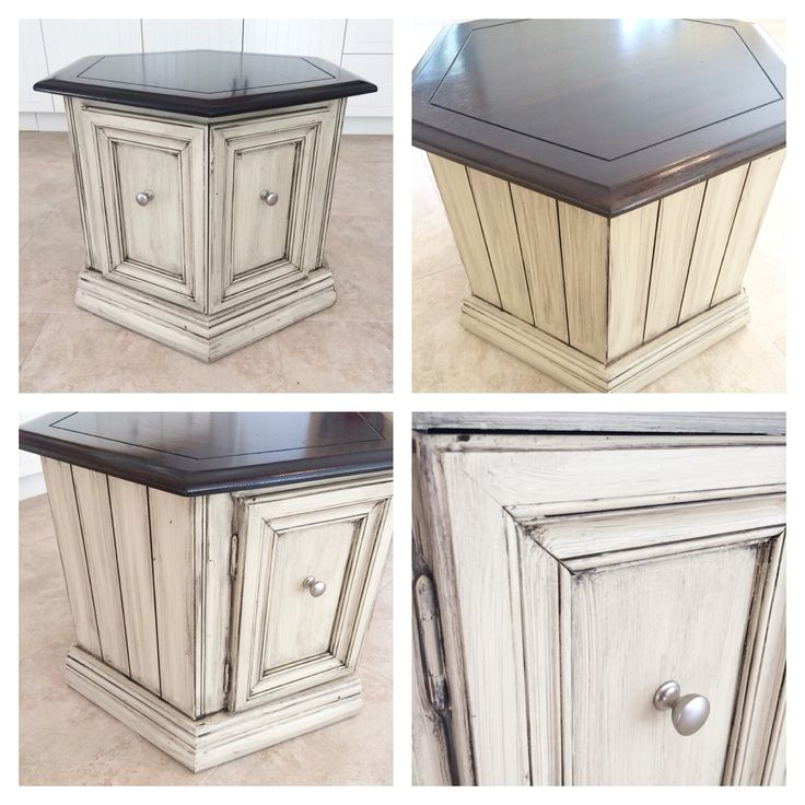 Octagon end table refinished in Rethunk Junk paint French vanilla with dark glaze and stain top. #ourjunkyourtrunk #breakthechalkhabit #rethunkjunk