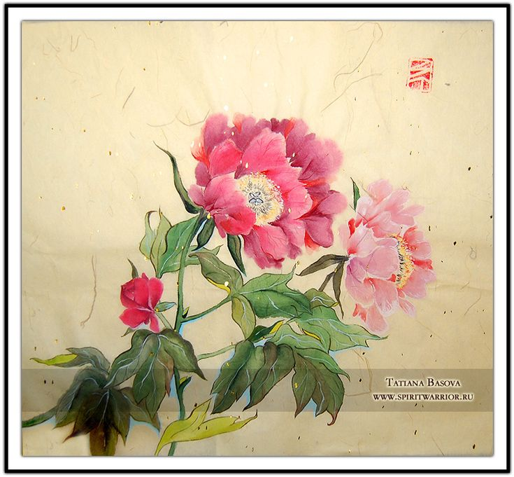 Peony Art. Yellow Rice Paper. Mineral paint.