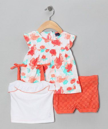 Take a look at this Orange Eyelet Shorts Set - Infant by Rugged Bear on #zulily today!
