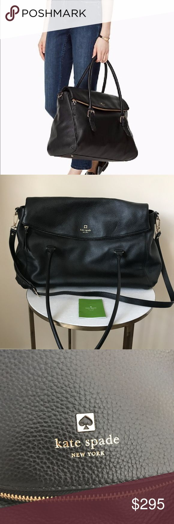 "Kate Spade Brighton Park Pebble Travel Leslie Kate Spade Brighton Park Pebble Travel Leslie Black Weekend/Travel Handbag- Black MSP $648  This Kate Spade Travel/Weekend bag features pebbled leather, capital kate jacquard lining, crossbody bag with magnetic snap closure and adjustable removable strap, interior zip & double slide pockets, flap zipper pocket. Measures 11.7""H x 19.5""W x 7""D, 16.75 handle drop, 33.5 total strap.  Gorgeous Travel/weekend bag.  Used only once.  Purchased directly…"