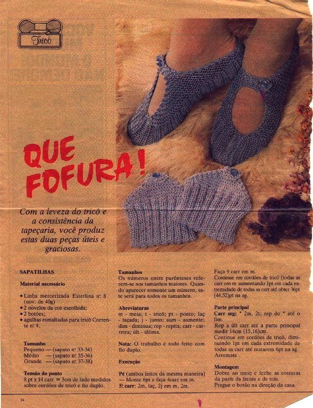 Receita de Tricô: Sapato de dormir para adulto em tricô