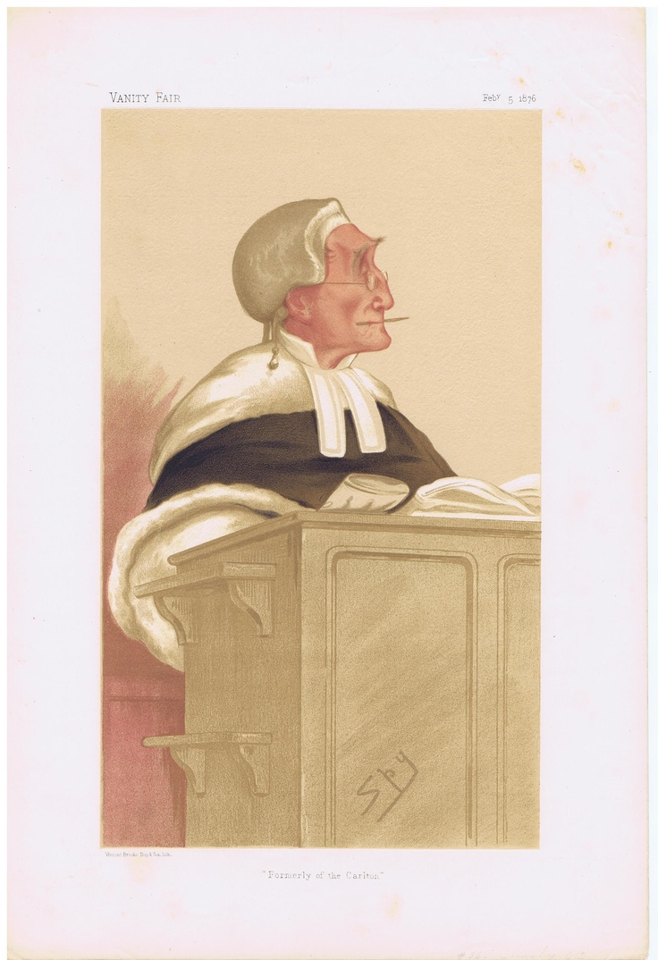 Date: 05-Feb-1876 The Vanity Fair Caricature of The Hon. Sir Anthony Cleasby With the caption of : Formerly the Carlton By the artist: SPY Visit www.theakston-thomas.co.uk for many more Vanity Fair Prints, we have one of the largest collections in the world.