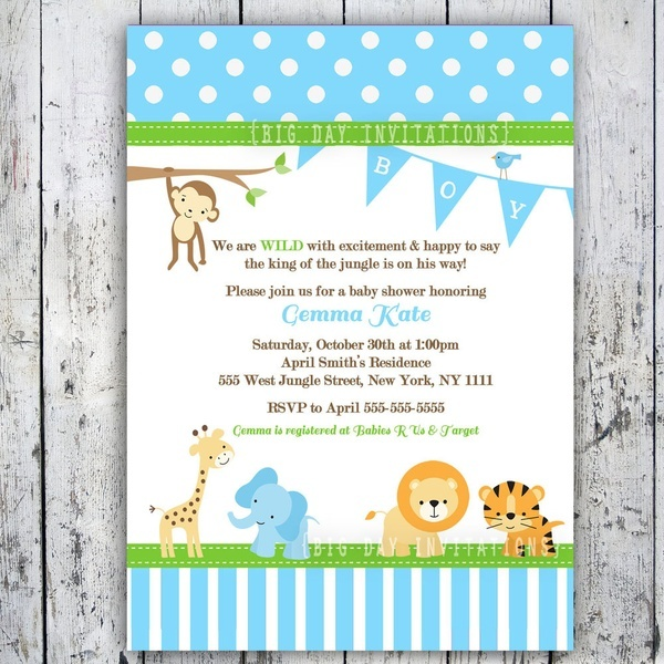 Baby Shower Invitations Jungle Animal Theme Printable Invite For Boy. Navy  ...