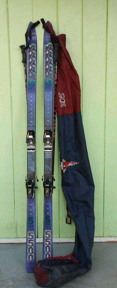 "K2 triaxial  SKIs women's marker M47 + scott ski poles 2.5 shaft + Bag 72"" inch. #K2"