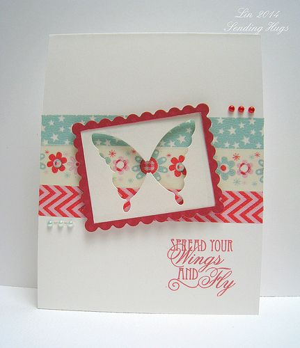 hand crafted card ... Washi tape background band ... punched negative space butterfly in a scallop frame ... great combo of tapes...