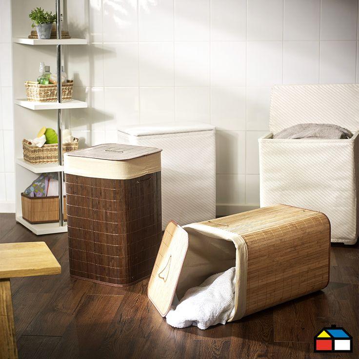 Cesto Ropa Bamboo Beige 34x57 cm Home Collection. #Sodimac #Homecenter #Baño #Decoración