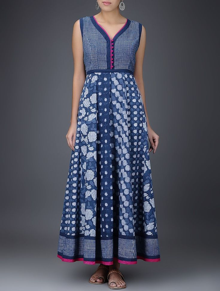 Buy Indigo White Pink Dabu Printed Layered Cotton Dress Women Dresses Gulaab E Neel tops kurtas pants and more Online at Jaypore.com