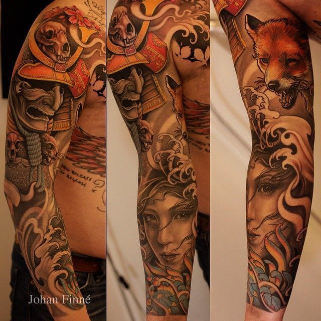 Johan Finne's sleeve tattoo design. Filled with warm colors the design seems to show a story that starts from a warrior adorned with skulls, fox barking down to the waves and a woman who appears to be underwater.