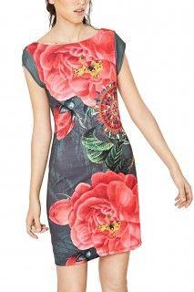 Desigual khaki šaty Sharyky s růžemi - 2199 Kč