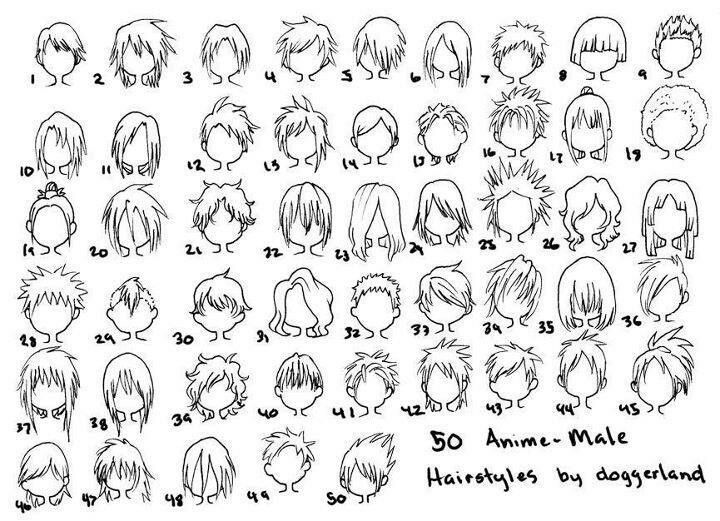 Anime male hairstyles drawing ideas