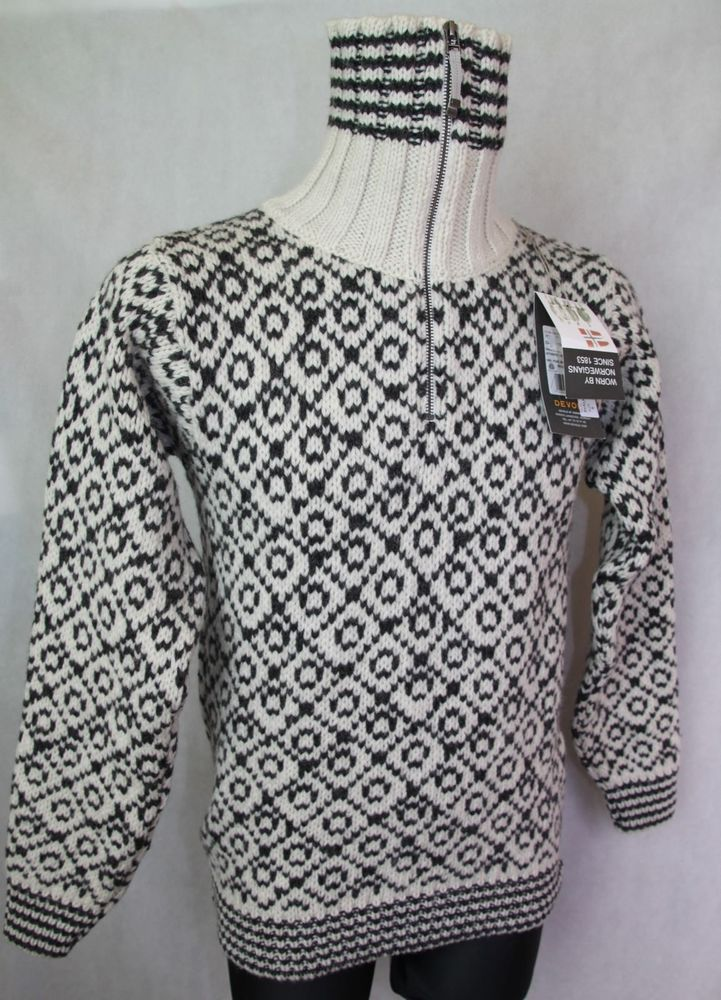 Men's DEVOLD SVALBARD SWEATER ZIP NECK Pure New Wool Jumper Sweater Small - NEW #Devold #Icelandic